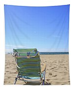 Beach Chair On A Sandy Beach Tapestry
