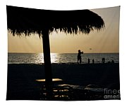 Beach Frisbee At Sunset On Marco Island Florida Tapestry