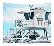 Beach Lifeguard Tower Tapestry