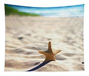 Beach Starfish Wood Texture Tapestry