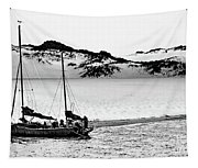Beached At Coorong Bw Tapestry