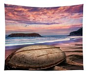 Beached At Sunset Tapestry