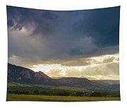 Beams Of Sunlight On Boulder Colorado Foothills Tapestry
