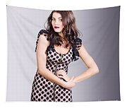 Beautiful Brunette Girl Wearing Retro Zipper Dress Tapestry