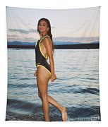 Beautiful Brunette On The Beach Tapestry
