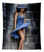 Beautiful Romantic Woman Standing Near A Stone Wall Tapestry