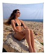 Beautiful Sexy Woman In Bikini Relaxing On A Rocky Seashore Tapestry