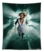 Beautiful Woman Diving In The Water Tapestry