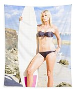 Beautiful Young Blond Surf Woman Tapestry