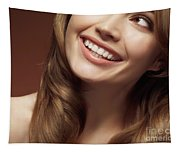 Beautiful Young Smiling Woman Tapestry