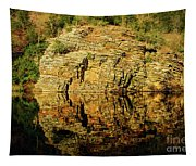 Beaver's Bend Rock Wall Reflection Tapestry