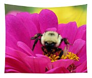 Bee On A Hot Pink Zinnia Tapestry