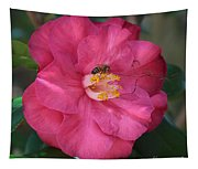 Bee On Pink Camellia Tapestry