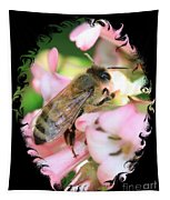 Bee On Pink Flower With Swirly Framing Tapestry