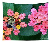Bee On Rainy Flowers Tapestry