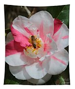 Bee On White And Pink Camellia Tapestry