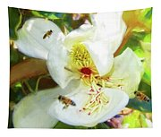 Bees On Open Magnolia Tapestry