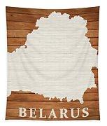 Belarus Rustic Map On Wood Tapestry