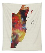 Belize Watercolor Map Tapestry