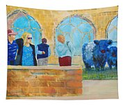 Belted Galloway Cows And People At Exeter Cathedral Tapestry