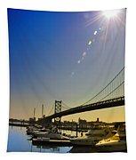 Ben Franklin Bridge From The Marina Tapestry