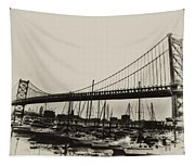 Ben Franklin Bridge From The Marina In Black And White. Tapestry