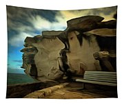 Bench And Huge Overhanging Rock Tapestry