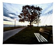 Bench And Street Light Tapestry