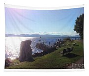 Benches Water Sun And Boat Tapestry