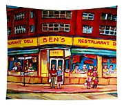 Ben's Delicatessen - Montreal Memories - Montreal Landmarks - Montreal City Scene - Paintings  Tapestry