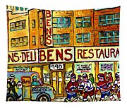 Ben's Famous Smoked Meat Montreal Memories Canadian Paintings Hockey Scenes And Landmarks  C Spandau Tapestry