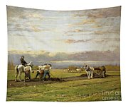 Bent Over The Earth Tapestry
