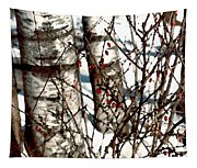 Berries And Birches Tapestry