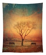 Between Two Benches Tapestry