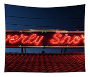 Beverly Shores Indiana Depot Neon Sign Panorama Tapestry