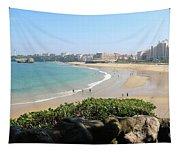 Biarritz Beach Panorama Tapestry