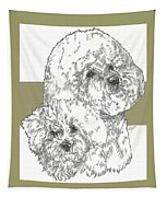 Bichon Frise And Pup Tapestry
