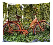Bicycle In The Garden Tapestry
