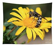 Big Bee On Yellow Daisy Tapestry