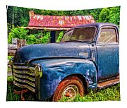 Big Blue Chevy At The Farm Tapestry