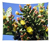 Big Cactus, Yellow Flowers Tapestry