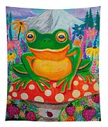 Big Green Frog On Red Mushroom Tapestry