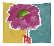 Big Purple Flower In A Small Vase- Art By Linda Woods Tapestry