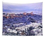 Big Snow In The Alhambra Granada  Tapestry