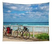 Bike Break At The Beach Tapestry