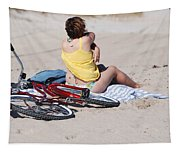 Bike On The Beach Tapestry