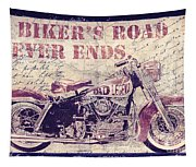 Biker's Road Never Ends Tapestry
