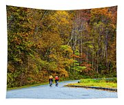Biking On The Parkway Tapestry