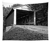 Billie Creek Covered Bridge Black And White Tapestry
