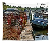 Billys Nets And Sinking Work Boat Tapestry